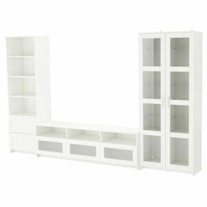Set Meja TV Double Kabinet Warna Putih